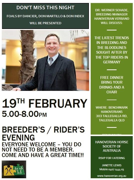 Breeders' Information Evening QLD @ Benchmark Hanoverians